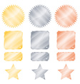 set gold silver and bronze glossy stickers in the vector image