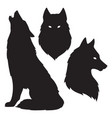 set of wolf silhouettes isolated vector image vector image