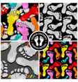 set seamless patterns with footprints vector image