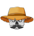 skull head with mustache and straw hat for vector image