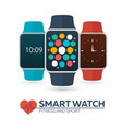 smart watch for fitness and sport flat vector image vector image