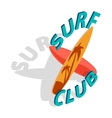 Surf club icon isometric 3d style vector image vector image