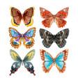 watercolor butterflies set vector image vector image