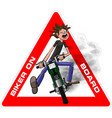 young biker scary quickly rides on a motobike vector image