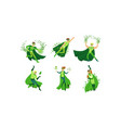 young people in green eco superheroes costumes vector image