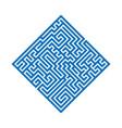 blue rhombus maze labyrinth flat vector image
