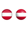 austrian flag under 3d dome button and on glossy vector image vector image