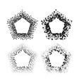 black color pentagon frames isolated on white vector image vector image