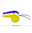 Blue White and Yellow Stripe on Buryatia Whistle vector image vector image