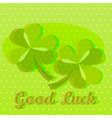 Bright green good luck greeting card with two sham vector image vector image