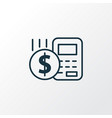 budget calculator icon line symbol premium vector image