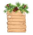 Christmas fir tree on a wooden board vector image