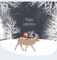 christmas winter landscape with santa claus vector image