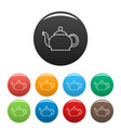 closed teapot icons set color vector image vector image