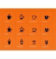Coffee mug icons on orange background vector image