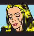 crying girl in pop art style vector image vector image