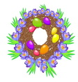 easter eggs in the nest vector image vector image