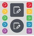 Edit document sign icon Set colour button Modern vector image