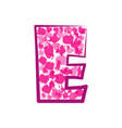 english pink letter e on a white background vector image vector image