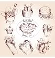 Fast food sketch set vector image