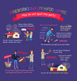 fireworks safety infographic pictures with rules vector image vector image