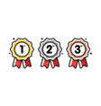 first place second place third place award medals vector image