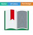 Flat design icon of Open book with bookmark vector image vector image
