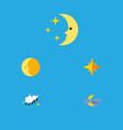 flat icon night set of asterisk lunar night and vector image