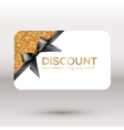 Golden discount card with black ribbon and bow vector image vector image