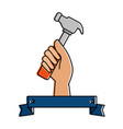 hand worker with hammer tool isolated icon vector image