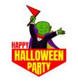 happy halloween party logo cartoon style vector image vector image