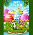 happy rabbit and chicken cartoon wearing costumes vector image