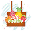 hello summer poster with wooden label and icons vector image vector image