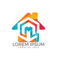 home letter m logo design vector image vector image