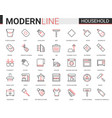 household tools flat thin red black line icons vector image vector image