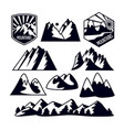 icons set mountains isolated on white vector image