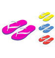 isometric slippers set of female with multicolored vector image vector image