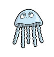 jellyfish on white background cute marine animal vector image