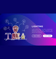 lighting concept man starting to use light bulb vector image