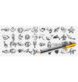 marine life doodle set vector image vector image