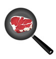 meat steak on frying pan vector image