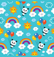 Panda bear rainbows clouds sky kids pattern vector image
