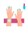 pretty blue manicure banner vector image vector image