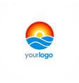 round ocean sun logo vector image
