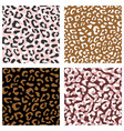 seamless leopard pattern set design animal brown vector image