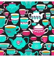 Seamless pattern of the doodle various teapot and vector image vector image