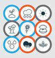 set of 9 harmony icons includes sprout plant vector image vector image