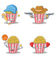 set of popcorn character with baseball cowboy vector image vector image