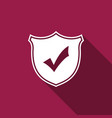 shield with check mark isolated with long shadow vector image vector image