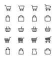 Shopping baskets line icons vector image vector image